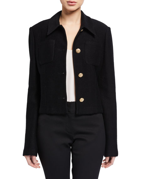 St. John Collection Collared Float Jacquard Jacket w/ Pockets & Back Yoke