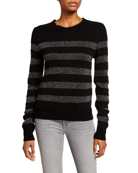 Pam & Gela Metallic-Stripe Crewneck Sweater