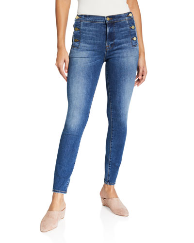 Le High Skinny Side-Button Jeans