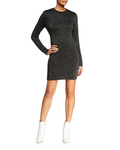Metallic Long-Sleeve Crewneck Short Dress