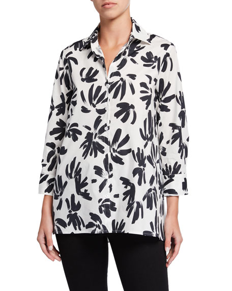 Finley Plus Size Thatched Floral Button-Down Trapeze Blouse
