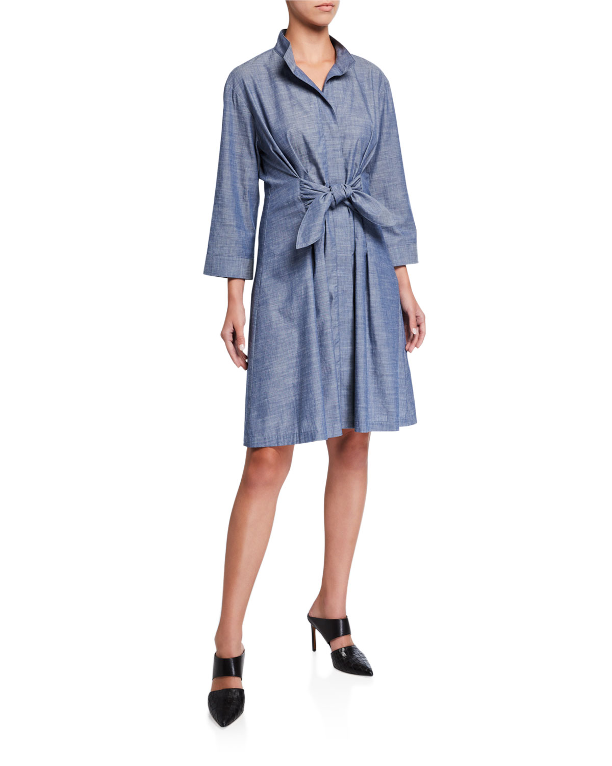 Finley PETITE ROCKY TIE-FRONT 3/4-SLEEVE CHAMBRAY DRESS