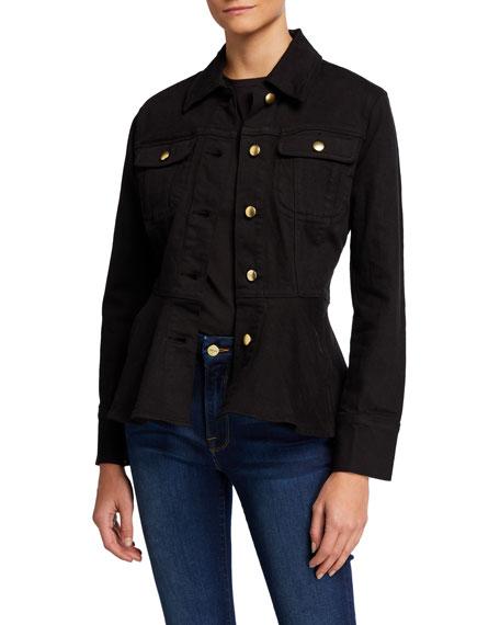 FRAME Button-Front Flounce Denim Jacket