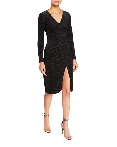 Miramar Pinstriped Long-Sleeve Velvet Wrap Dress