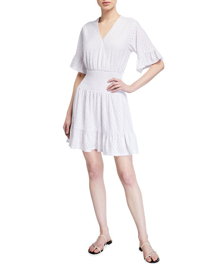 MICHAEL Michael Kors Eyelet Smocked Waist Dress