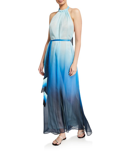 Ombre Halter Maxi Dress w/ Fringe Belt