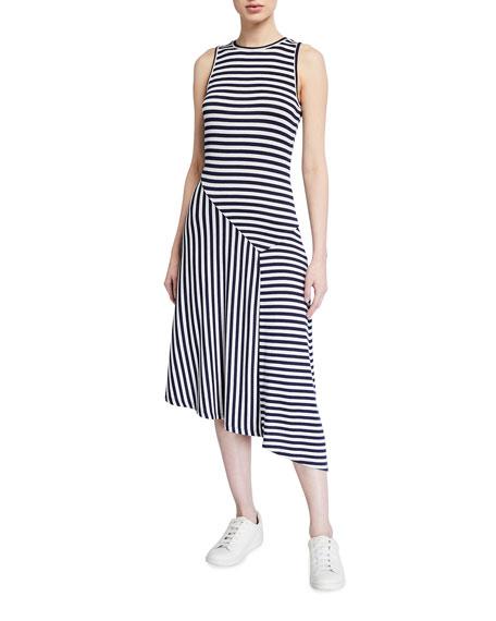 MICHAEL Michael Kors Asymmetric Mix Panel Stripe Dress