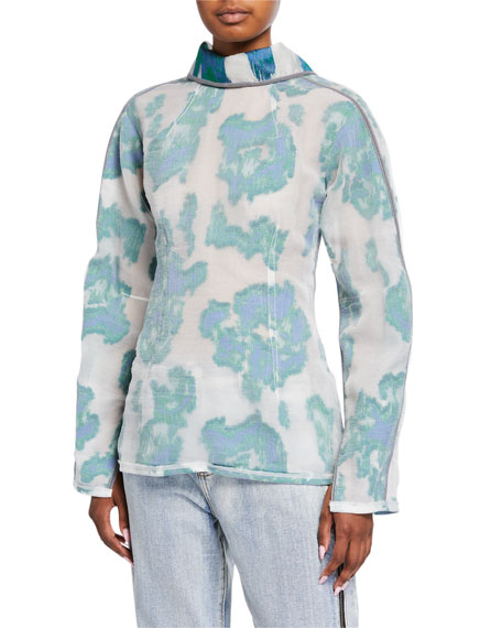 3.1 Phillip Lim Long-Sleeve Fil Coupe Abstract Daisy Top