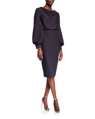 Cowl-Neck Blouson Jacquard Sheath Dress