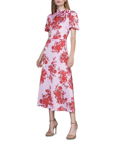 Tie-Neck Floral Short-Sleeve Midi Dress