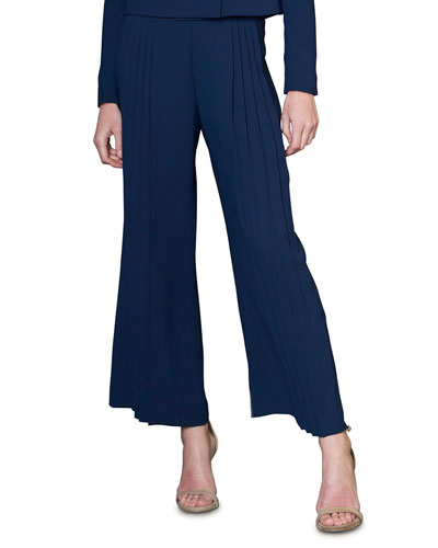 Wide-Leg Ankle Pants with Pleated Detail