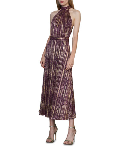 Metallic Halter Midi Dress