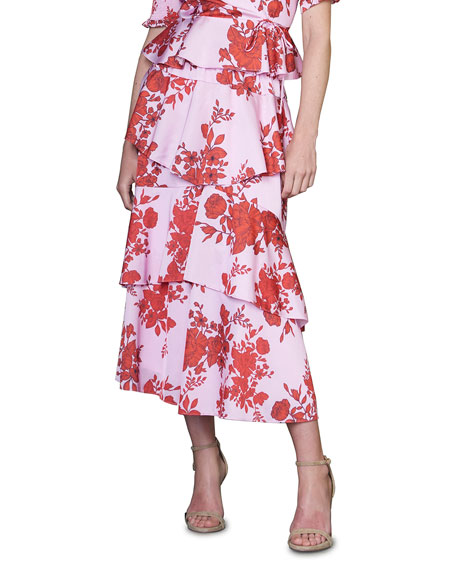 ML Monique Lhuillier Ruffled Floral Tiered Midi Skirt