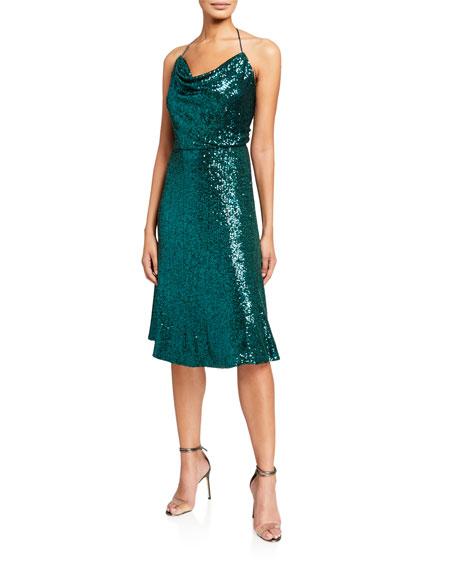 Dress The Population Zherra Sequin Draped-Front Halter Dress