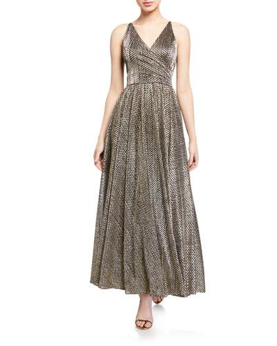 Valentina Metallic Sleeveless Shirred-Bodice Gown