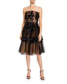 Dress The Population Fae Sequin Floral Embellished Tulle