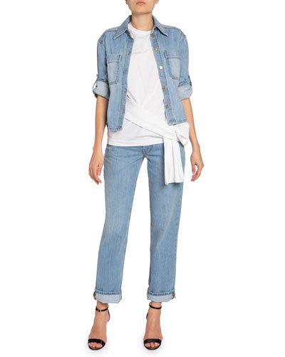 Cropped Roll-Sleeve Denim Jacket