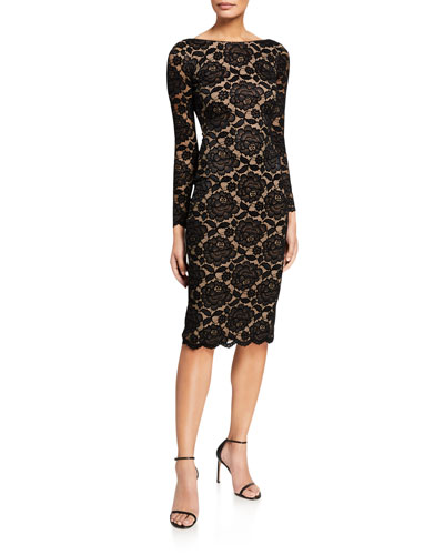 Emery Velvet Lace Long-Sleeve Sheath Dress