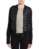 Moncler Down-Knit Combo Zip Sweater