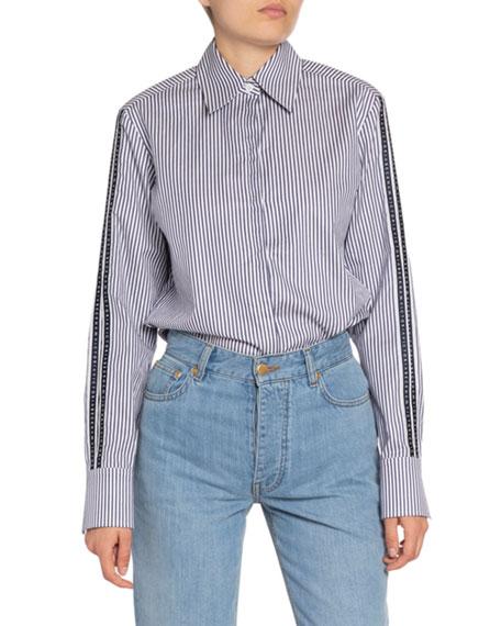 Victoria Victoria Beckham Striped Split-Sleeve Button-Down Shirt