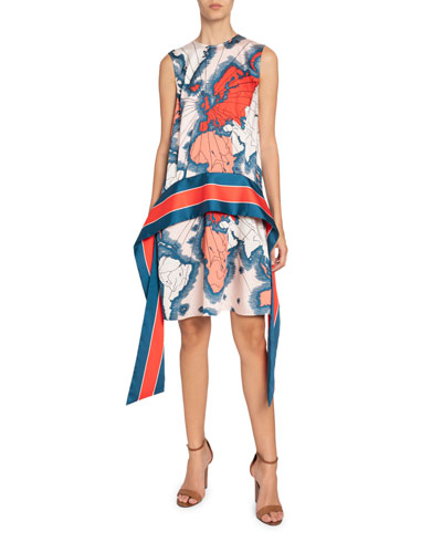Map-Print Sleeveless Scarf Dress