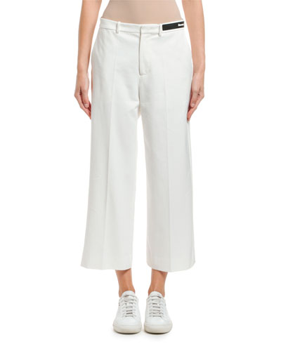Cropped Cotton Logo-Waist Pants