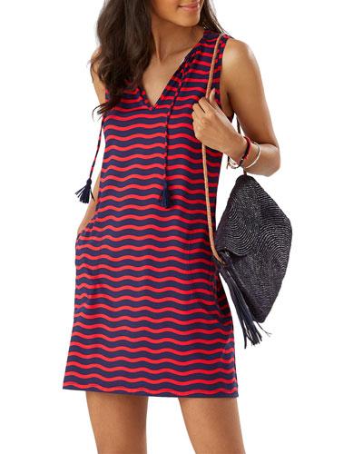 Sea Swell Striped V-Neck Sleeveless Spa Dress