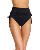Carmen Marc Valvo Side-Tie High-Waist Bikini Bottom
