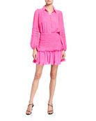 Bardot Ira Shirred Ruffle Balloon-Sleeve Shirt Dress