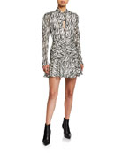 Bardot Zebra-Print Ruched Long-Sleeve Dress