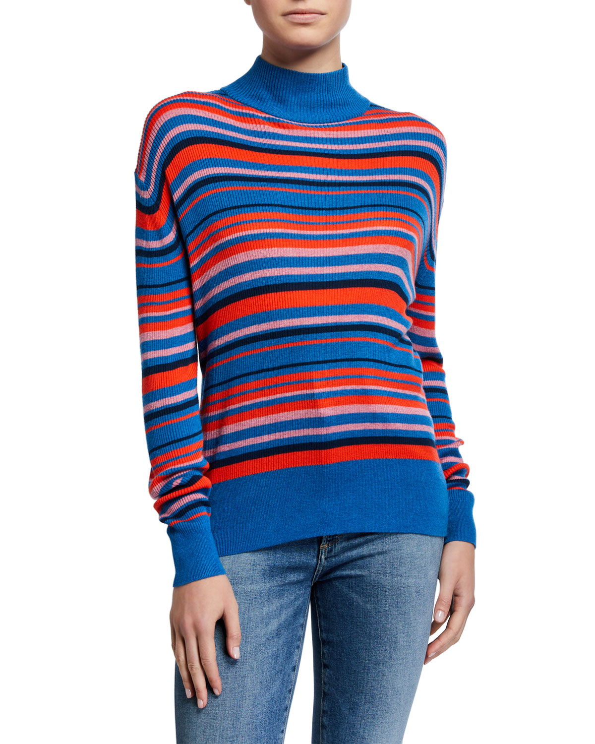 Kule Sweaters THE MARLENE STRIPED TURTLENECK SWEATER
