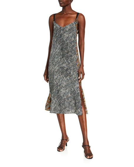 Rag & Bone Colette Printed Side-Slit Slip Dress