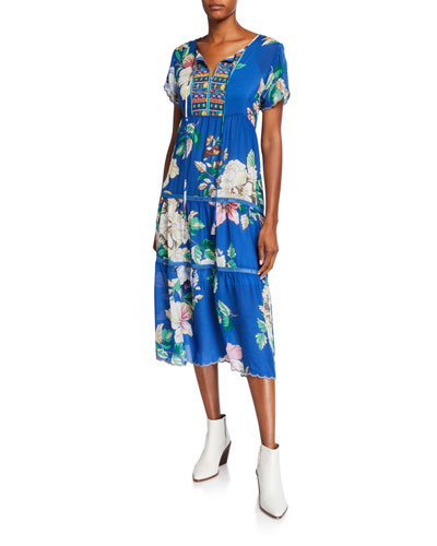 Holly Floral Short-Sleeve Tiered Mid-Calf Dress