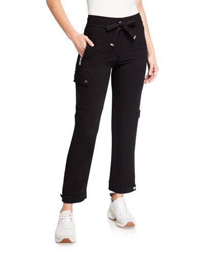Reebok Womens Stretch Cotton Printed Side Pocket Ankle Pants