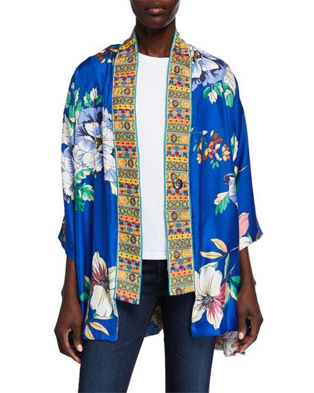 Johnny Was Plus Size Onyx Reversible Silk Kimono