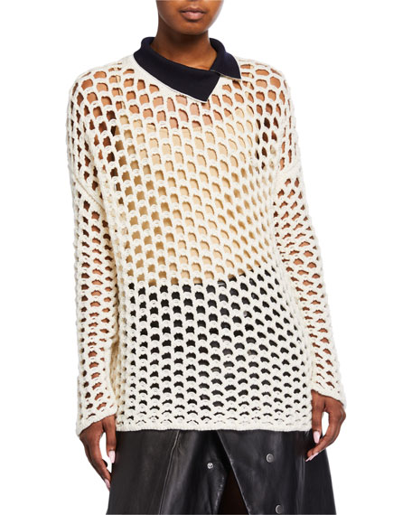 3.1 Phillip Lim Chunky Open Knit Pullover Sweater