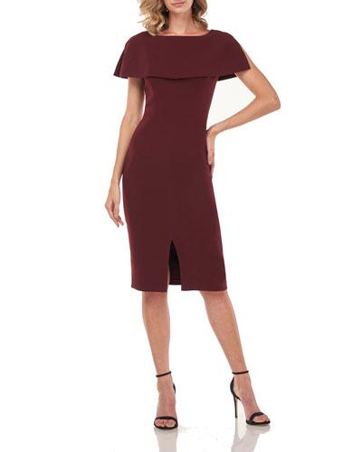 Sloan Stretch Crepe Sheath Dress w/ Capelet & Front Slit