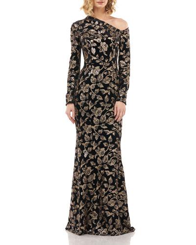 Francesca Sequin Floral Asymmetrical Neck Velvet Mermaid Gown