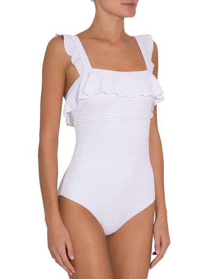 Eberjey Jane Ruffle Square-Neck One-Piece Swimsuit