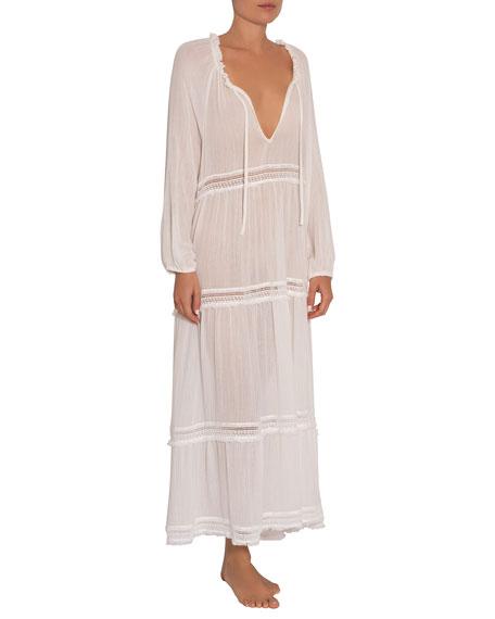 Eberjey Emery Tiered Long-Sleeve Coverup Dress