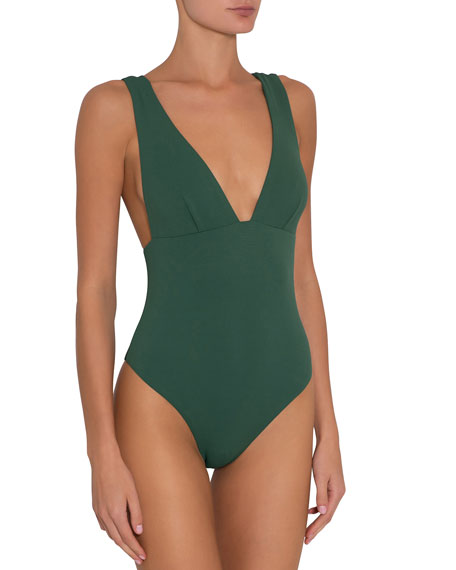 Eberjey Vivian Plunging Pique One-Piece Swimsuit