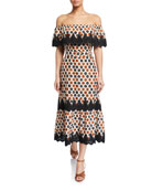 Miguelina Lisselle Off-Shoulder Floral Coverup Dress w/ Lace