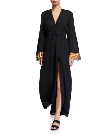 Miguelina Zaida Silk Long-Sleeve Coverup Dress