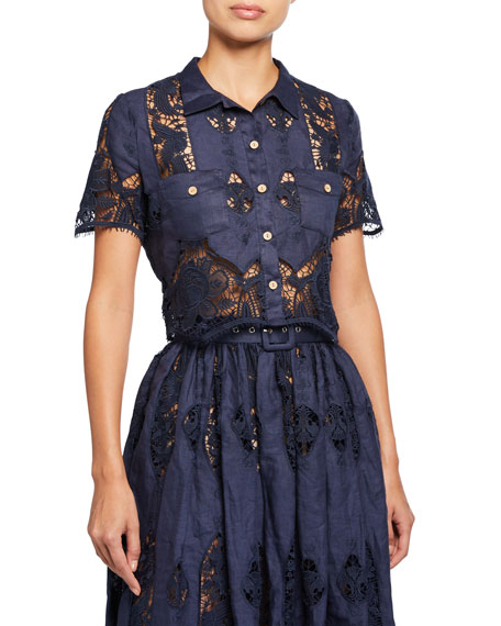 Miguelina Astrid Coverup Blouse With Granadilla Embroidery
