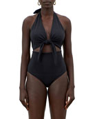 Mara Hoffman Maddy Tie-Front Cutout One-Piece Halter Swimsuit