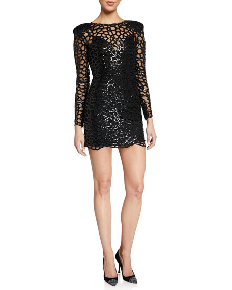 Bronx and Banco Spider Long-Sleeve Sequin Embellished Mini Sheath Dress