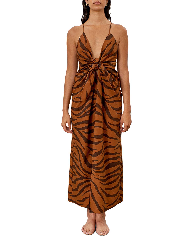 Mara Hoffman Dresses LOLITA TIGER STRIPE KNOT-FRONT SLEEVELESS MAXI DRESS
