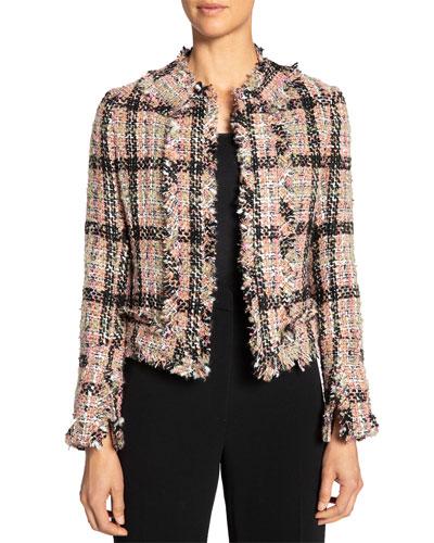 Multicolor Tweed Jacket w/ Fringe & Cuff Detail