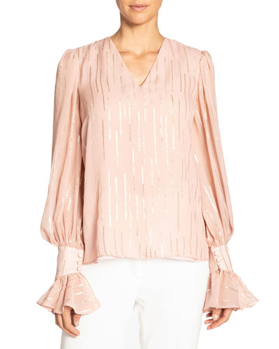 Fancy Striped V-Neck Silk Blouse w/ Voluminous Sleeves