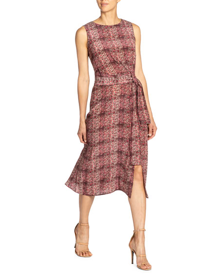 Santorelli Printed Double Georgette Sleeveless Dress w/ Front Tie Detail